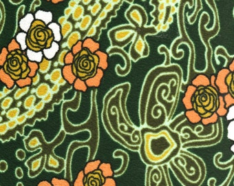 """MOD Stylized Flower Power 60's Polyester Knit Fabric 1 2/3 Yards (60"""") x 56/57"""" Wide Vintage Hippie Boho Fabric Sewing Supplies"""