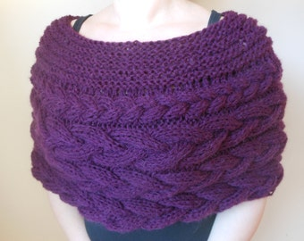 Cable Knitted Shawl Capelet Wedding Shrug Poncho Neck Warmer  Purple
