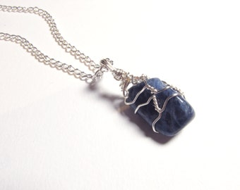 Sodalite Pendant Wire Wrapped Mineral Gemstone Pendant Silver Wire Natural Stone Necklace