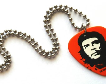 Che Guevara Guitar Pick Necklace with Stainless Steel Ball Chain - revolutionist