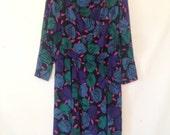 1980s graphic print dress large floral print dress green, blue and black dress 1980s dress VTG 80s 1980s floral dress bold print dress