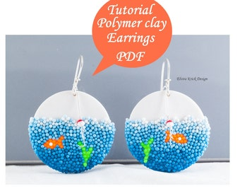 Polymer clay tutorial, Fish earrings, DIY polymer clay earrings, PDF tutorial, Digital pattern, Advanced beginner, Instant download