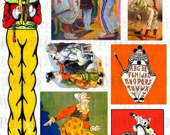 Antique CLOWNs! Digital Printable Circus Clown COLLAGE. Antique Digial Clown Clip Art Collage. For All Card Making, Altered Art, Clip Art