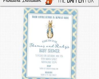 Peter Rabbit Baby Shower Invitation Baby Boy - Printable - Beatrix Potter Book Baby Shower Invite Baby Blue Classic Plaid Invitation