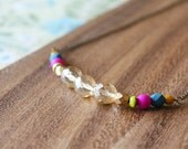 czech glass bead necklace - champagne and jewel tones - 30 inches