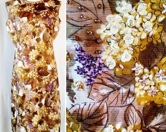 Vintage 60s Beaded Autumn Floral Dress . Large