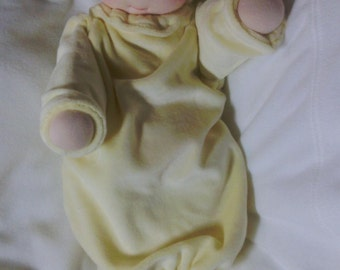 Waldorf style weighted bunting baby doll