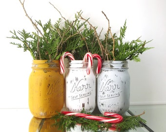 Christmas Table Decor, Holiday Decor, Christmas Mantle, Painted Mason Jars, Christmas Party Decorations, Rustic Christmas Decor