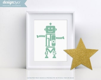 Personalized Printable Robot Wall Artwork