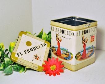 El Producto Cigar Tin Vintage 1950s, Man Cave Display Decor, Lady in Red Cigar Box Memorabilia