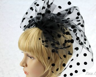 Black Wedding Veil, Black Polka Dot Veil, Black Veil for Wedding, Short Veil for Bride, Black Bridal Veil, Black Spotted Veil Bridal