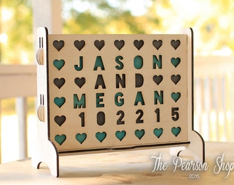 Personalized Hearts Connect 4 Game