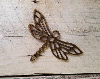1PC Large Antique Bronze Hollow-Cut Dragonfly Pendant Charm