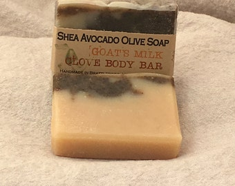 Cold Process Soap SHEA AVOCADO OLIVE Goat's Milk & Clove Bar All Natural Made in Vermont