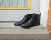 90s Black Ankle Boots, Bonour Brand Leather Booties, Women's US Size 7 EU 37.5