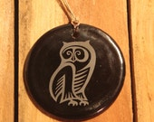 Vintage Owl Recycled Wine Bottle Ornament - Charm, Glass, Upcycle Recycle Repurpose, Melted Wine Bottle Bottom, Pendent, Christmas