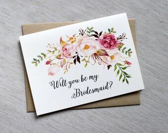 Will You be My Bridesmaid Cards, Bridesmaid proposal Card, Custom Bridesmaid cards, Bridesmaid Invitation, Bridesmaid Gift, Floral card