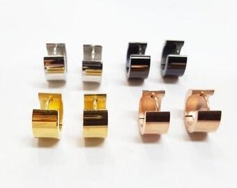 Men / women Earrings Jet Black Huggie Hoop - Stainless Steel