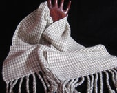 100% Cashmere Scarf - Handwoven of Soft Handspun Yarn - Houndstooth Check - Natural Color Brown and White - Warm Winter Scarf - Soft Scarf