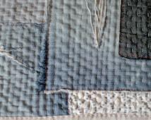 Boro inspired hand stitched denim and linen recycled table mat/pot holder
