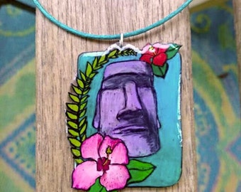 Moai Necklace - Tiki Necklace - Easter Island Statue - Tropical Necklace