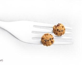 Kawaii Chocolate Chip Cookie Earrings, Miniature Food Cookie Jewelry, Chocolate Cookie Studs, Biscuit Earrings, Kawaii Jewelry, Foodie gift
