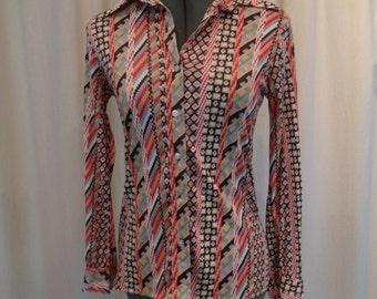Vintage 60s Nylon Multi-Colored Hippie Boho Wide Collar Blouse S XS