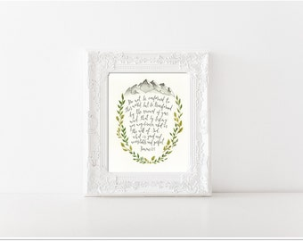 Watercolor painting print, scripture painting, 8x10