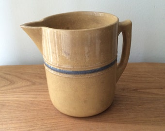 Vintage Rustic Brown Pitcher with Blue Stripe