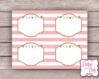INSTANT Download Pink, Mint, Gold birthday Food Labels - Digital File Download- Party