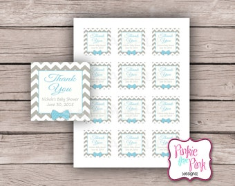 Personalized Bowtie Baby Boy Shower Thank you Tags Little Man- Bow Tie Digital File Download- Birthday, Bridal