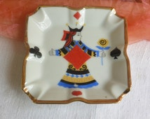 Vintage Ashtray - Playing Card Suites, China, Gold Etched, Painted - Stunning!