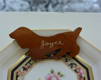 Vintage Dachshund Brooch - Hand Made, Wood, Joyce  - Rare, Collectible!