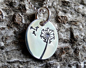 Dandelion Necklace - Hand Stamped Sterling Silver Oval Charm Pendant on Sterling Chain