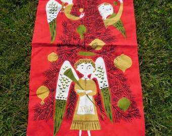 Vintage Christmas TAMMIS KEEFE Linen Tea Towel Kitchen Towel Crisp Mid Century FAB