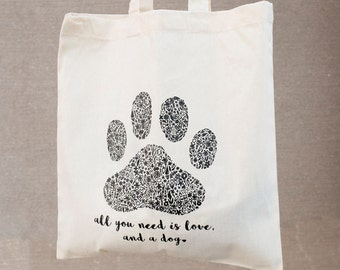 Dog Lover Floral Paw Print Tote