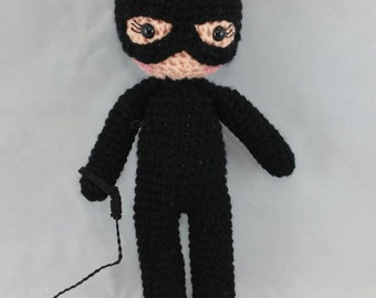 Crocheted Cat Woman inspired doll