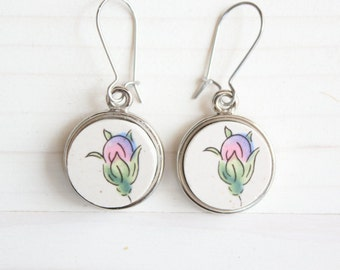Bright Flower Buds, China Plate Earrings