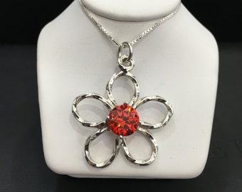 Small, Medium, or Large Sterling Silver Flower Pendant or Earrings With Colored CZ