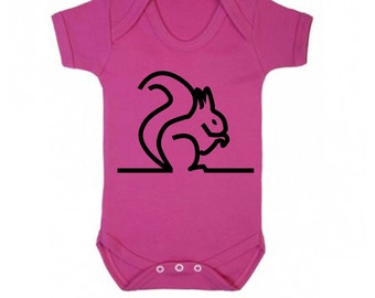 Baby girl bodysuit, minimal animal babygrow, cerise pink, squirrel illustration