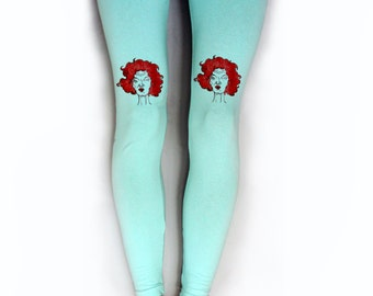 Twin peaks leggings, lil the dancer, crazy red hair girl, mint footless leggings, hand painted women