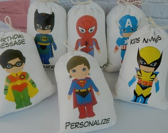 "Birthday Party Favor Bags Super Heroes group 1 Super Kids  For Treat's or gifts, Personalized 5"" X 7"" or 6"" X 8"" Qty 6"