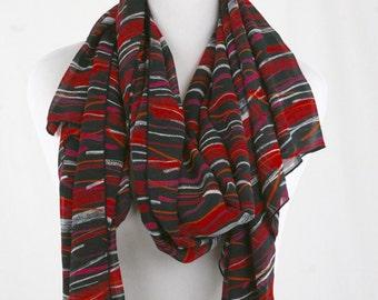 Vintage Red and Black Slashes Huge Semi Sheer Scarf Shawl Sarong