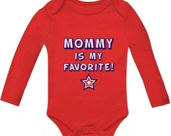Mommy is My Favorite Baby Long Sleeve Onesie Bodysuit