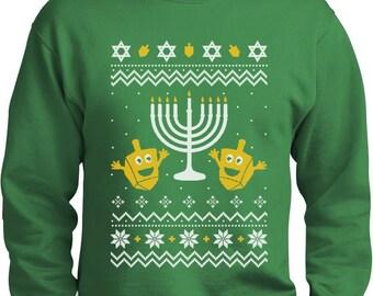 Happy Hanukkah - Ugly Christmas Sweater Men's Crewneck Sweatshirt