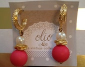 sweet little dangle gold and pearl earrings with a pop of fuchsia