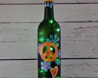 Peace sign, 70's decor, wine bottle light, hand painted
