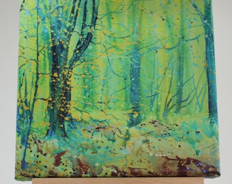 Canvas print of trees, woodland art, tree print on canvas, painting of woods, yellow green painting, cornish art