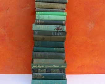 Instant Book Collection. Lot antique vintage Green Hardcover Books. BOOK STACK. Vintage book bundle. Photo Prop Display Wedding