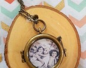 """Personalized Photo Pendant Double Sided Locket 18"""" 24"""" 30"""" Chain"""